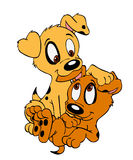 Puppy Brothers. Hand drawn cartoon of two little puppies playing Royalty Free Stock Photography