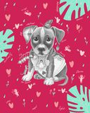 Puppy with a butterfly on the head vector illustration