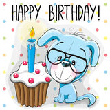 Puppy with cake. Greeting card cute Cartoon Puppy with cake Royalty Free Stock Photography