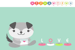 Puppy card. Cute puppy holding love letter vector illustration