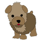 Puppy Cartoon. Cute brown cartoon puppy standing on the white background royalty free illustration