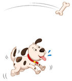 Puppy catching piece of bone. Illustration Stock Image