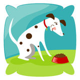 Puppy Chew. Spotted puppy eats his chow Royalty Free Illustration