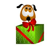 Puppy For Christmas Gift With Bow Royalty Free Stock Photo