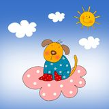 Puppy on the cloud Stock Photography