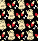 Puppy cute rest sleep relax seamless pattern dark wallpaper. Stock Images