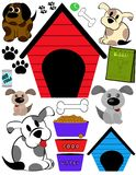 Puppy Days. Illustrations of puppies and their toys and related objects Royalty Free Stock Image