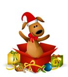 Puppy Dog Christmas Gift Royalty Free Stock Image