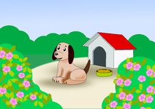 Puppy at the dog house. A cute little puppy sitting outside his doghouse Stock Photography
