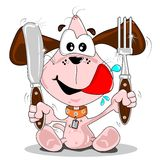Puppy dog meal time Stock Image
