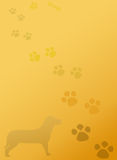 Puppy Dog Paws Stationery Notepad Background. Silhouette of a dog with puppy dog paws on faded brown background Royalty Free Stock Images