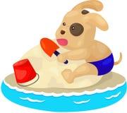 puppy dog playing sand beach Stock Photo