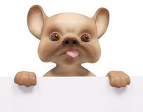 Puppy dog with poster, isolated character 3d rendering Royalty Free Stock Photos