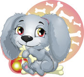 Puppy. Doggie which gnaws a stone vector illustration