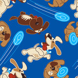 Puppy dogs playing in a seamless pattern Stock Photo
