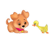 Puppy and duckling cartoon illustration Royalty Free Stock Images
