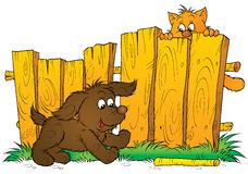 Puppy en katje stock illustratie