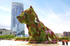 Puppy in front of the Guggenheim Museum. Stock Photo