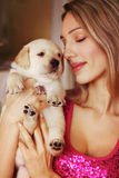 Puppy and girl Stock Photo