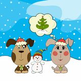Puppy girl and boy with a snowman and a Christmas tree.  Royalty Free Stock Images