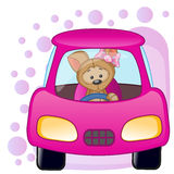 Puppy girl in a car Royalty Free Stock Image