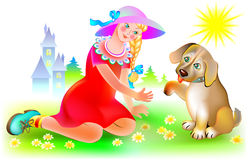 Puppy gives paw to the girl. Royalty Free Stock Images