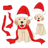 Puppy Golden Retriever with Santa Hat and Scarf. Baby Dog Labrador Greeting Card Christmas Day  on White Background. Vector Illustration Royalty Free Stock Photo