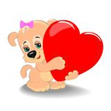 Puppy with heart Royalty Free Stock Image