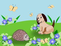 Puppy and Hedgehog Royalty Free Stock Image
