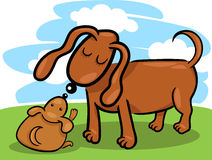 Puppy and his dog mom cartoon Stock Photography