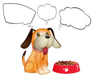 A puppy beside his dogfood with empty callouts Royalty Free Stock Images