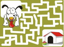 The puppy and his house. Maze game for kids: helps the puppy to find his house Royalty Free Stock Images