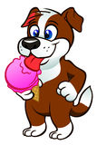 Puppy with icecream Stock Image