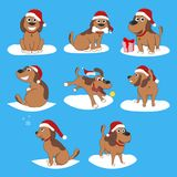 Puppy Installed Funny Cartoon Puppy in Different Poses. Puppy in the box, in the hat of Santa Royalty Free Stock Images