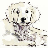 Puppy and kitten royalty free illustration