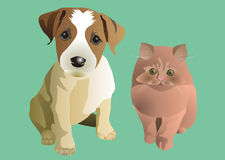 Puppy and kitten. In expectation of new owners royalty free illustration