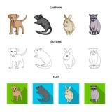 Puppy, knaagdier, konijn en andere diersoort De dieren geplaatst inzamelingspictogrammen in beeldverhaal, schetsen, vlak stijl ve Royalty-vrije Stock Fotografie