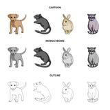 Puppy, knaagdier, konijn en andere diersoort De dieren geplaatst inzamelingspictogrammen in beeldverhaal, schetsen, zwart-wit sti Stock Foto