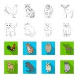 Puppy, knaagdier, konijn en andere diersoort Dieren geplaatst inzamelingspictogrammen in overzicht, de vlakke voorraad van het st Royalty-vrije Stock Fotografie