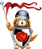 Puppy knight. Funny illustration with little ginger doggy who stays on guard dressed in knight clothes with huge shield and spear royalty free illustration