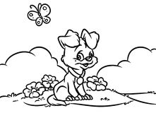 Puppy landscape flowers coloring page Stock Photo