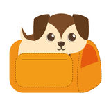 Puppy little brown yellow pet carrier traveling. Illustration eps 10 Stock Photo