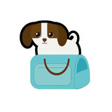 Puppy little canine adorable blue pet carrier bag travel. Illustration eps 10 Royalty Free Stock Photo