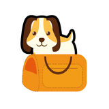 Puppy little pet domestic yellow pet carrier traveling. Illustration eps 10 Royalty Free Stock Photos