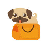 Puppy little tongue out yellow pet carrier traveling. Illustration eps 10 Stock Image
