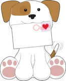 Puppy Love Love Letter. A cute puppy is holding a letter that has a heart stamp in the top right corner royalty free illustration
