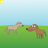 Puppy love. Vector cartoon of two dogs looking at each other suggestively on grass background Royalty Free Stock Images