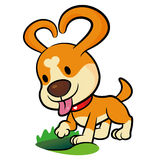 The Puppy Mascot dug a hole in the ground. Animal Character Desi Royalty Free Stock Photos