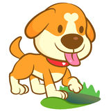The Puppy Mascot dug a hole in the ground. Animal Character Desi Royalty Free Stock Images