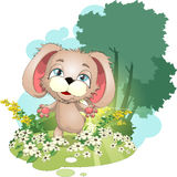 Puppy on a meadow. Doggie which skips on a forest clearing stock illustration